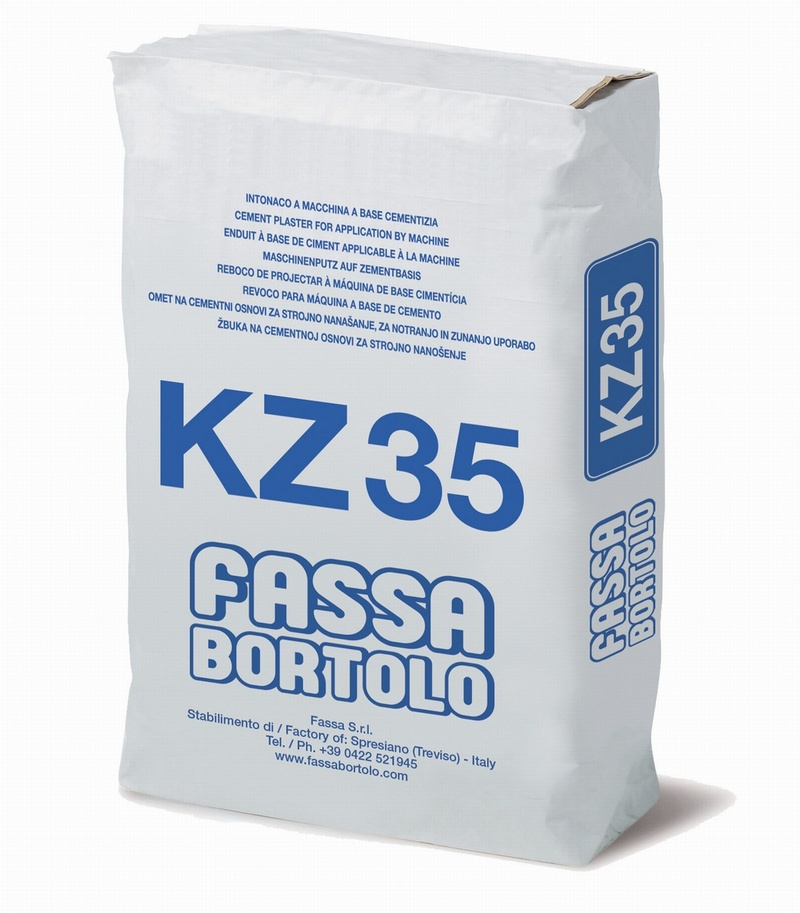 FASSA KZ35 LIME/CEMENT BASE COAT RENDER WITH WATER REPELLENT FOR PLINTHS 25KG