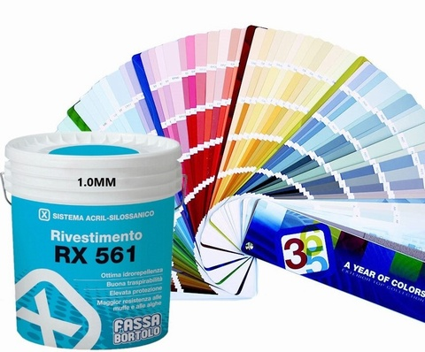 FASSA RX561 TOP COAT IN 1.0mm or 1.5mm finish, Acrylic siloxane coating Pastel White 14l (Available to be tinted to a wide range of colours, please call for more information)