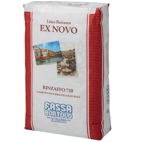 FASSA RINZAFFO 720 Biological undercoat based on natural hydraulic lime NHL 3.5 to renovate damp indoor and outdoor masonry 25KG