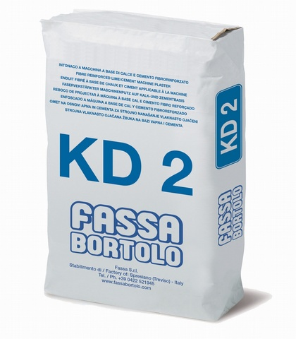 FASSA  KD2  Lime-and-cement-based fibre-reinforced foundation plaster, for interiors and exteriors.